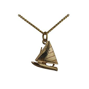9ct Gold 17x18mm Yacht with Sailor Pendant with a spiga Chain 20 inches