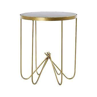 Fusion Living White Marble And Brass Circular Side Table