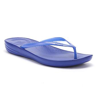 FitFlop iQushion Pearlised Ergonomic Womens Blue Flip Flops