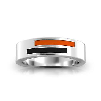 University Of The Pacific - Asymmetric Enamel Ring In Dark Orange And Black