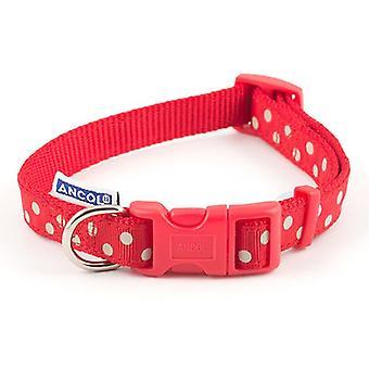 アンチョール調節可能な赤ヴィンテージ水玉模様の犬の首輪 - 20-30 cm