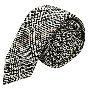 Black & White Dogtooth Check Tweed Tie