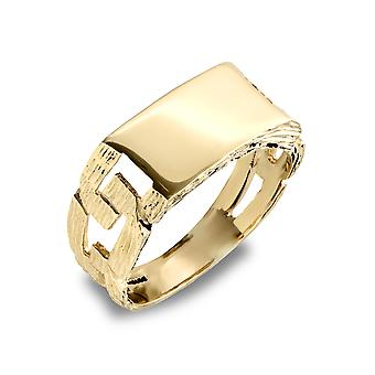 Jewelco London Men's Solid 9ct Yellow Gold Curb Link Rectangular Signet Ring