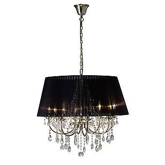 Diyas IL30057 Olivia Pendant With Black Shade 8 Light Antique Brass/Crystal