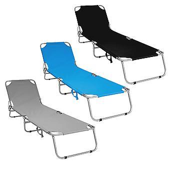 Charles Bentley opvouwbare Camping ligstoel zon bed Recliner-volledig geassembleerd in zwart groen blauw & grijs