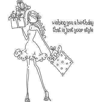 Stamping Bella Unmounted Rubber Stamp Uptown Girl Posh Has A Present Ll131