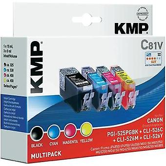 KMP Ink replaced Canon PGI-525, CLI-526 Compatible Set Black, Cyan, Magenta, Yellow C81V 1513,0050
