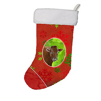 Cow Red Snowflakes Holiday Christmas  Christmas Stocking SB3126-CS