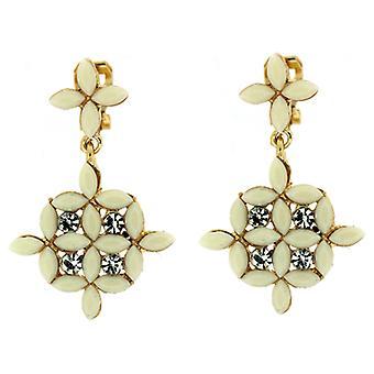 Clip On Earrings Store Cream Bead & Clear Crystal Charm Drop Clip on Earrings