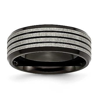 Titanium 8mm Black-plated and Striped Polished Band Ring - Size 10.5