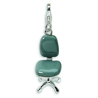 Sterling Silver 3-D Enameled Office Chair With Lobster Clasp Charm - 2.5 Grams - Measures 34x10mm