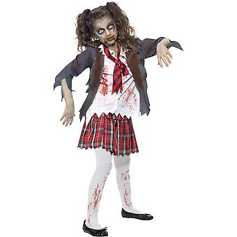 Smiffys Zombie Schoolgirl Childrens Halloween Fancy Dress Costume Tartan Skirt