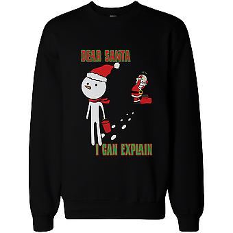 Snowman Stole Santa's Hat Funny Sweatshirt Cute Christmas Pullover Fleece