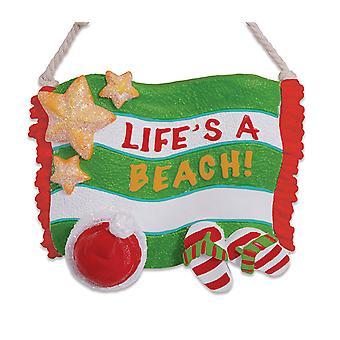 Lifes en stranden Santa Hat Flip Flop sandaler Christmas Holiday Ornament Cape Shore