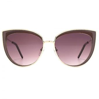 Karl Lagerfeld Metal Cateye Sunglasses In Shiny Gold Pink