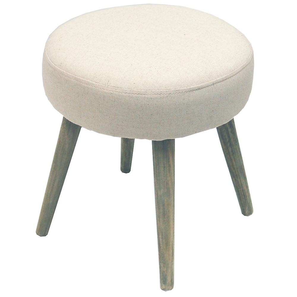 Twill - Retro Fabric Padded Dressing Stool With Wood Legs - Oatmeal Cream