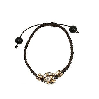 W.A.T Brown Macrame Cord And Gold Crystal Glitterball Bracelet