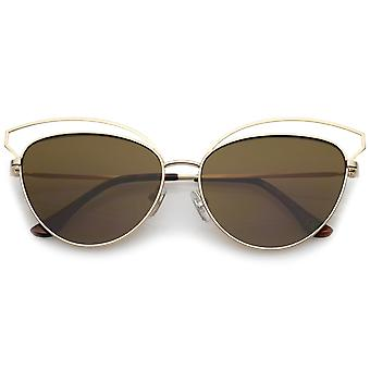 Women's Open Metal Frame Slim Temple Oversize Cat Eye Sunglasses 58mm