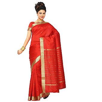 Pittige rode kunst Silk Saree Sari stof India gouden rand