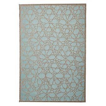 In - and outdoor carpet balcony / living room Fiore light blue natural 135 x 190 cm