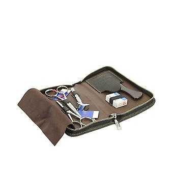 Dovo Beard and Moustache Grooming Set in Brown Leather Case 508051