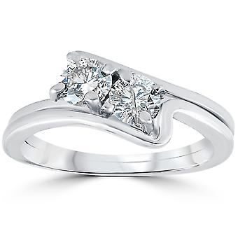 3/4CT Two Stone Diamond Forever Us Engagement Ring Set 10K White Gold