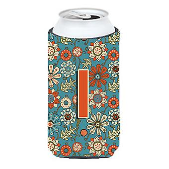 Letter I Flowers Retro Blue Tall Boy Beverage Insulator Hugger