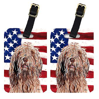 Pair of Otterhound with American Flag USA Luggage Tags