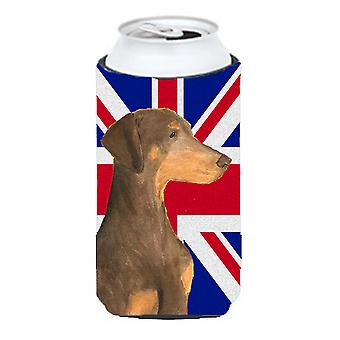 Doberman Natural Ears with English Union Jack British Flag Tall Boy Beverage Ins