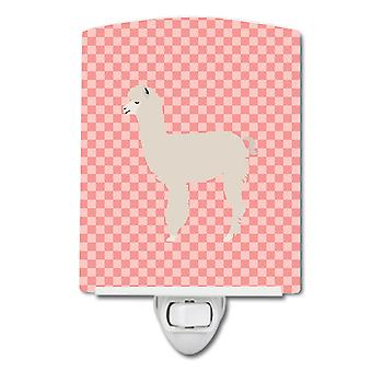 Carolines Treasures  BB7919CNL Alpaca Pink Check Ceramic Night Light