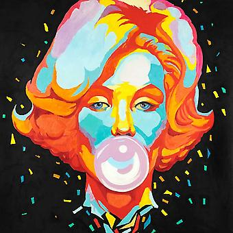 Colorful Maryline Monroe Bubblegum Poster Print by Atelier B Art Studio