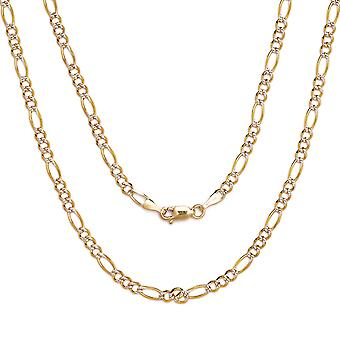 10k Two-Tone Gold Figaro Chain Necklace with White Pave , 0.1 Inch (2.5mm)