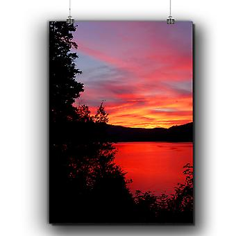 Matte or Glossy Poster with Sunset Dawn Photo Nature | Wellcoda | *q252