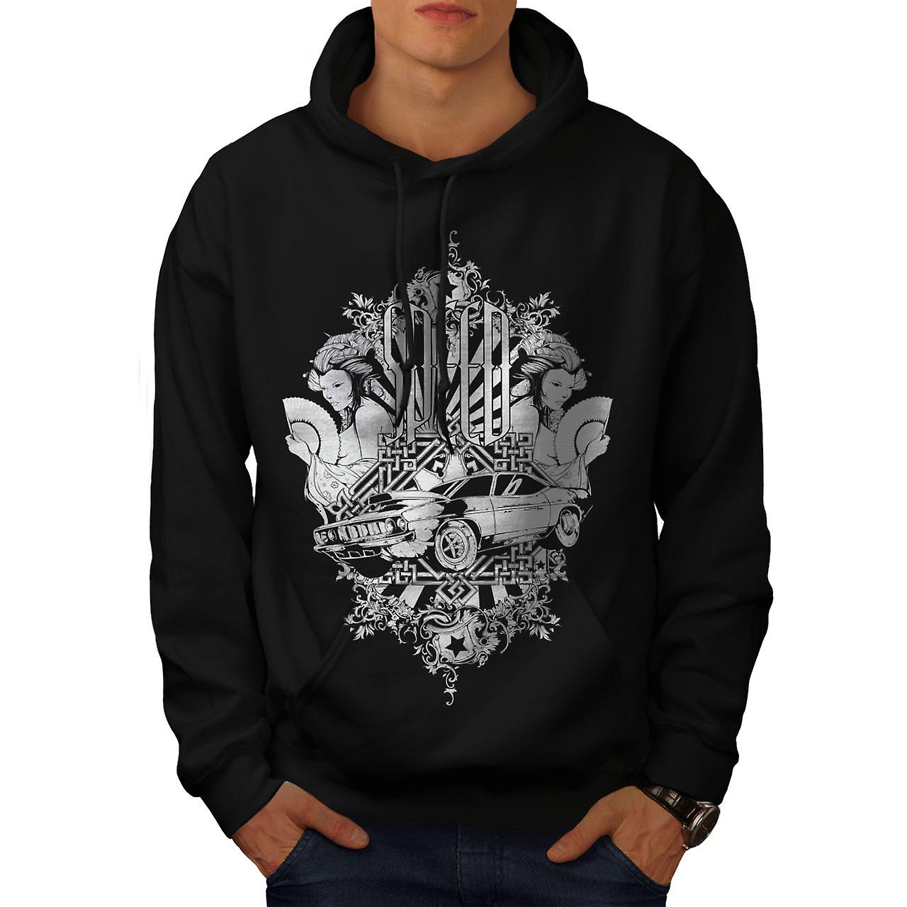 Speed Vintage Girl Car Men Black Hoodie | Wellcoda