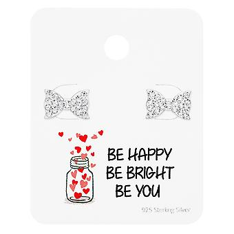 Bow Ear Studs On Motivational Quote Card - 925 Sterling Silver Sets