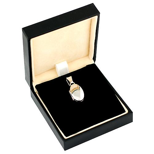 9ct White Gold 18x11mm plain oval Locket