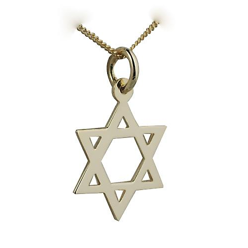 18ct Gold 17x17mm plain Star of David Pendant with a curb Chain 16 inches Only Suitable for Children