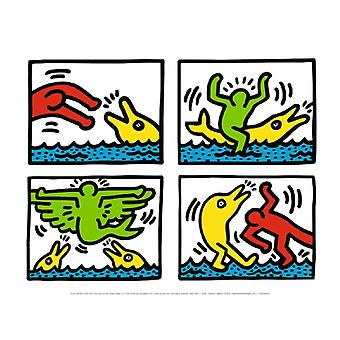 Pop Shop Quad V Poster Print by Keith Haring (16 x 12)