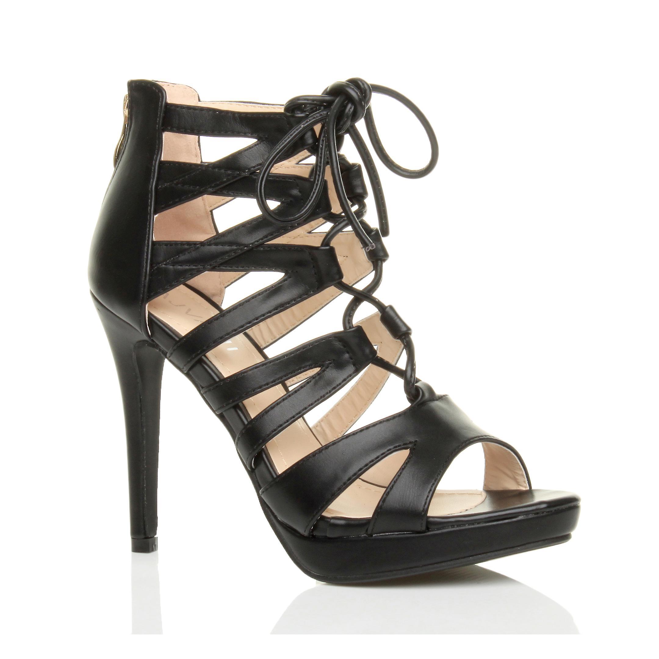 Ajvani womens tacco alto piattaforma zip in gabbia ghillie sandali scarpe stringate