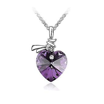 Womens Love Heart Pendant Necklace Light Purple