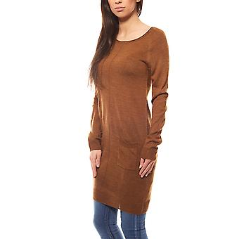 Tamaris knee fine knit dress knit dress Brown