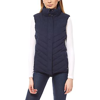Wrangler buffer ladies quilted vest blue stand up collar
