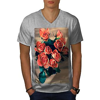 Roses Beautiful Nature Men GreyV-Neck T-shirt | Wellcoda