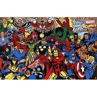 Marvel - Retro Lineup Poster Print