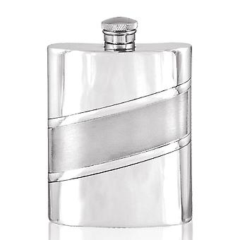 Diagonal Satin Band Pewter Hip Flask - 6oz