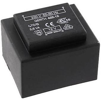 PCB mount transformer 1 x 230 V 2 x 12 V AC 5.60 VA 233 mA PTB422402 Gerth