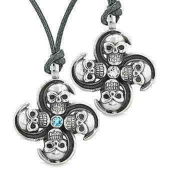 Übernatürliche Schädel Amulett Kräfte Liebe Paare Beste Freunde himmelblau weiße Kristalle Halsketten