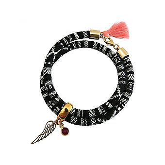 Damen - Armband - Wickelarmband - 925 Silber Vergoldet - Flügel - Engel - AZTEC - Rubin - Rot - Rose