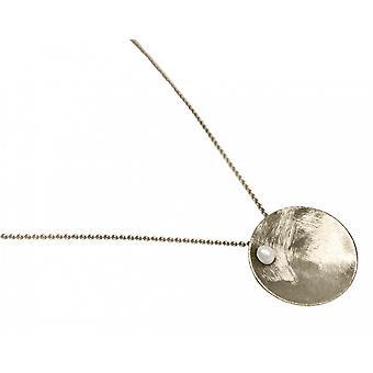 Ladies - necklace - pendant - 925 Silver - Bowl - Pearl - White - 45 cm