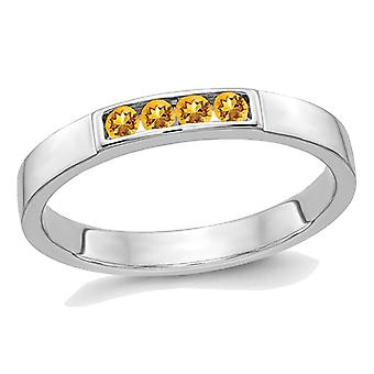 Yellow Citrine Band Ring 1/7 Carat (ctw) in 14K White Gold